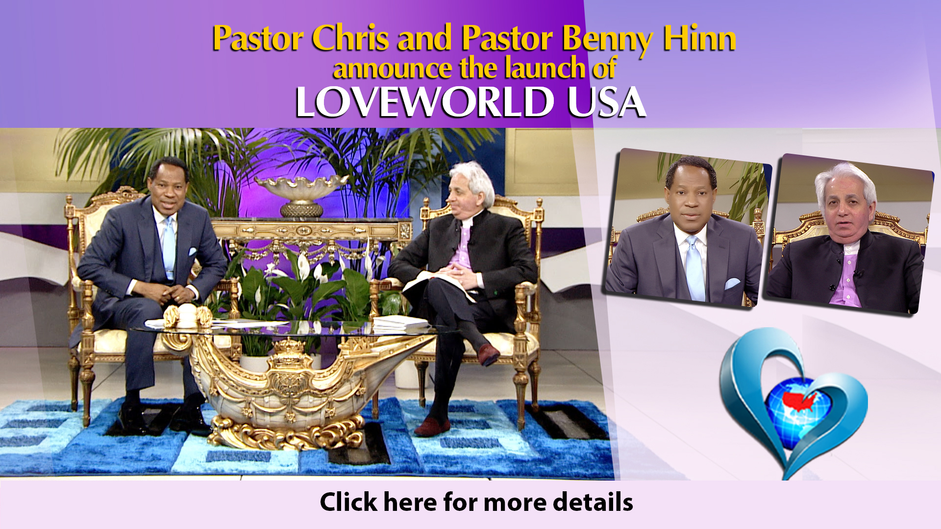 Pastor Chris and Pastor Benny Announces the Lunch Loveworld USA